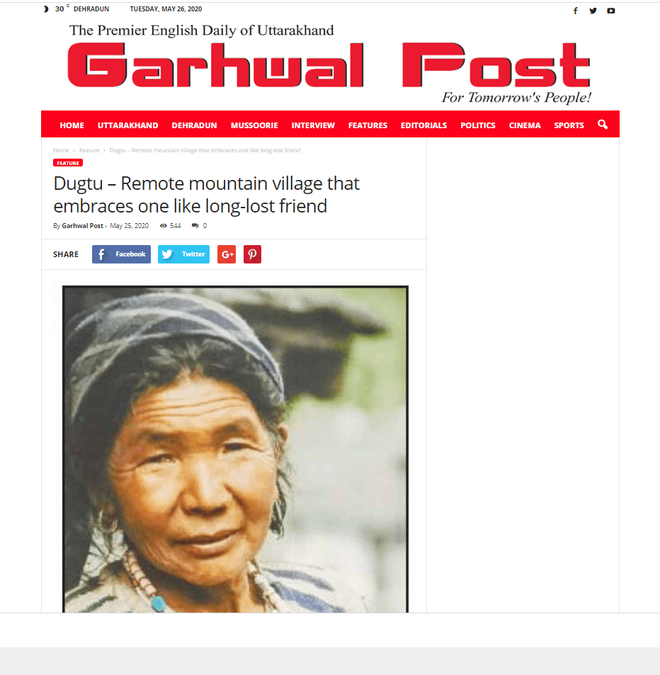 Dugtu -Remote mountain village that embraces you like a long lost friend Garhwal Post May 26, 2020