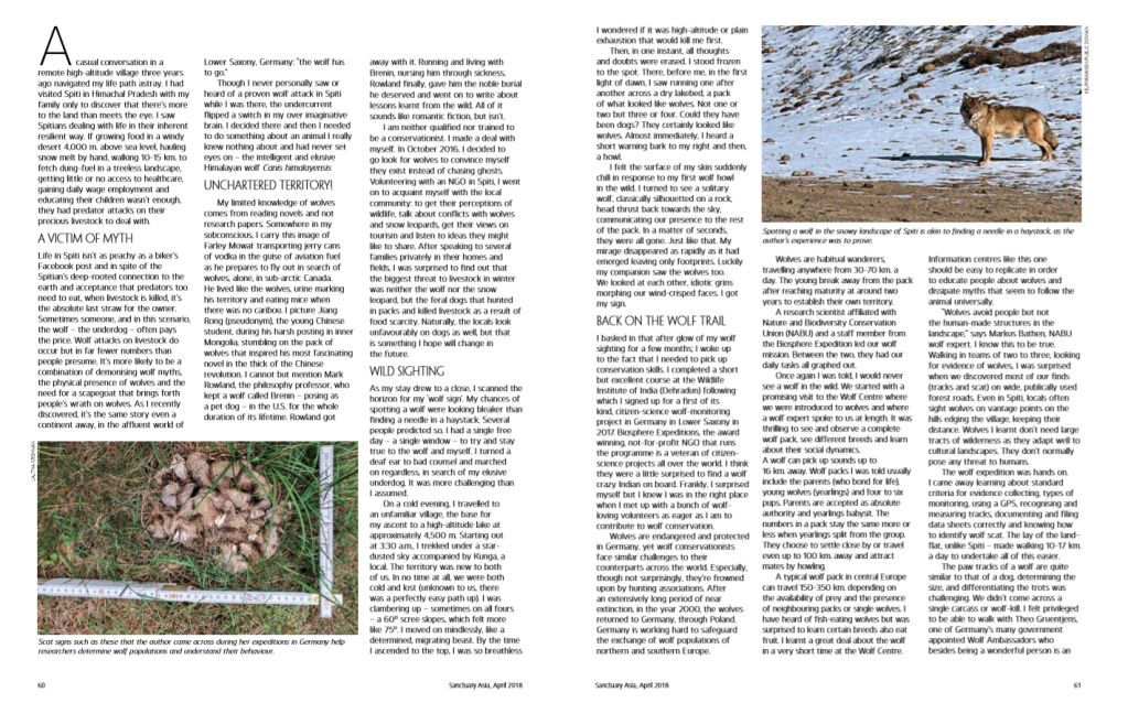 From Lahul Spiti to Lower Saxony. On the wolf Trail pg 60, 61